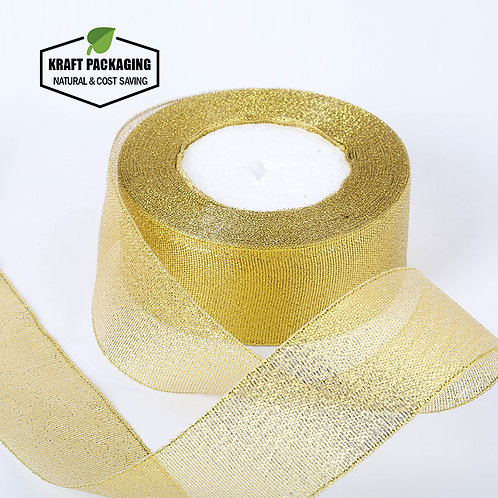 6 different width Gold silk ribbon for box packaging decoration