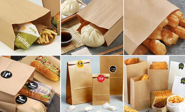 Kraft paper food bags for multiple use