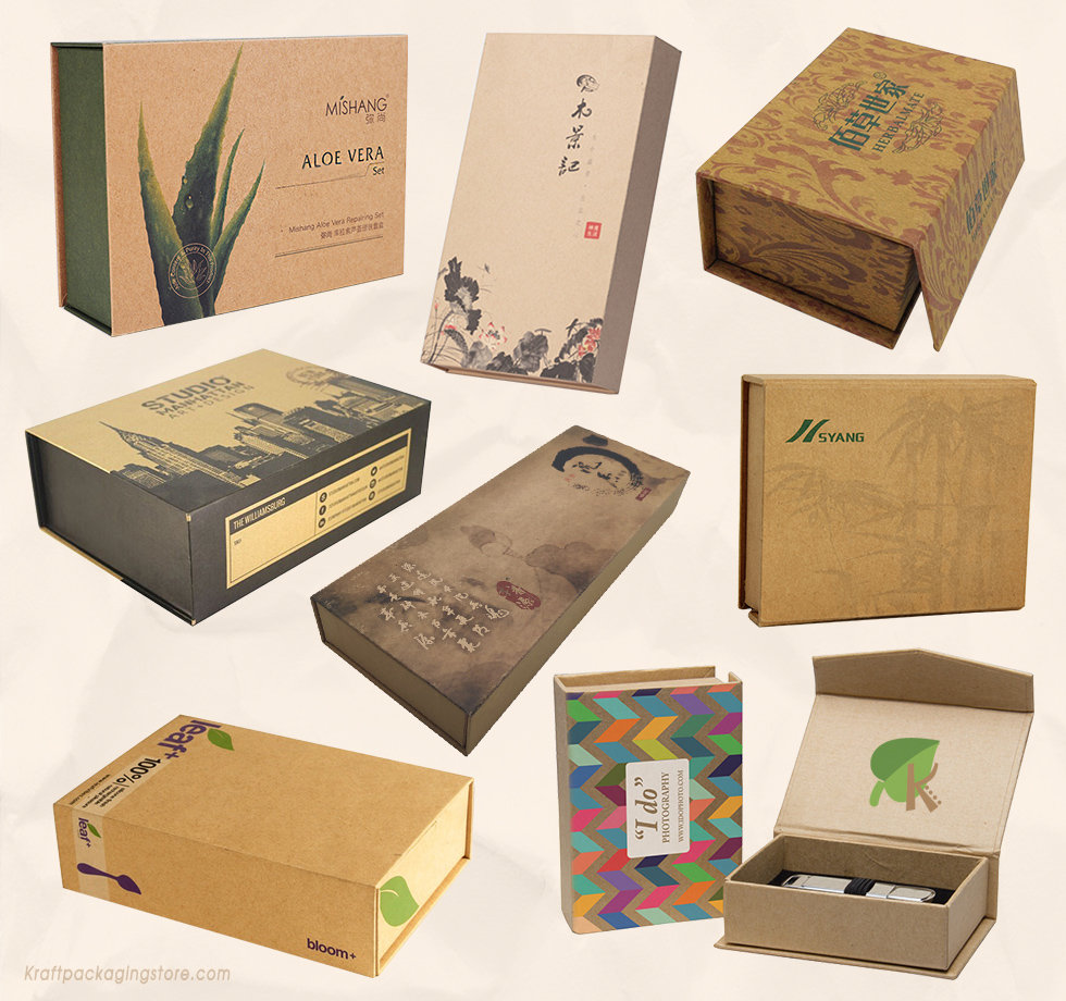 Custom printed magnetic gift boxes made of brown Kraft cardboard