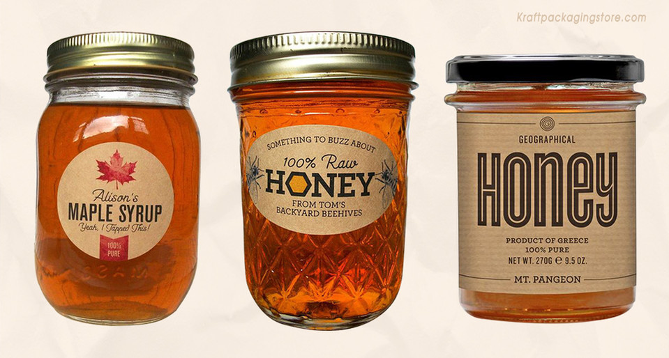Kraft stickers for honey jar labels