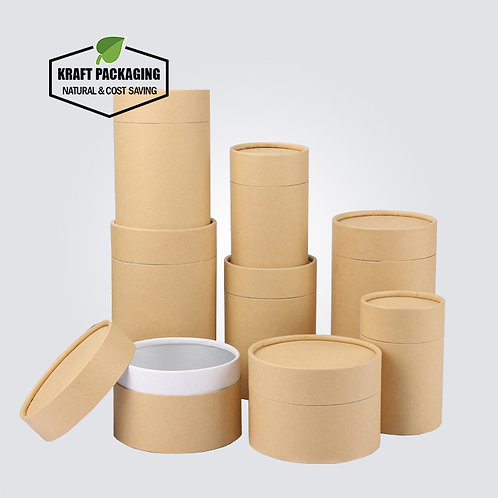 Brown Kraft tube with white inside and rolled edge inner neck