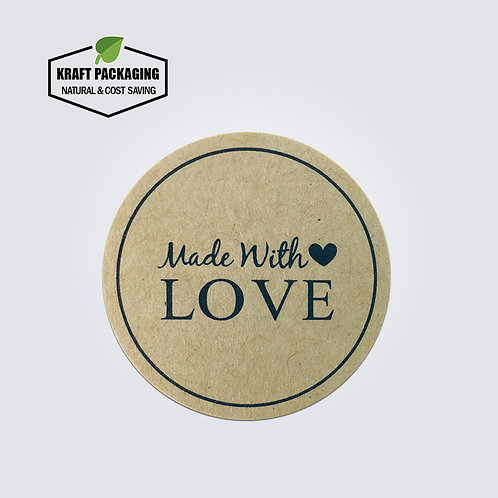 Kraft paper round Made with LOVE text printed sticker label