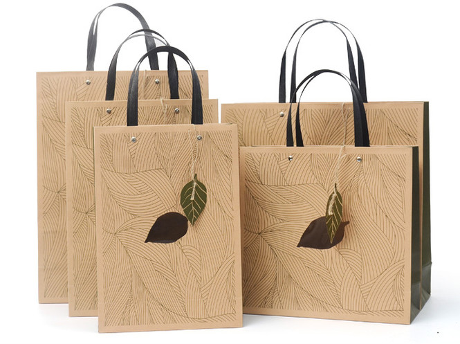 Luxury green printed kraft gift bags with flat handle and window