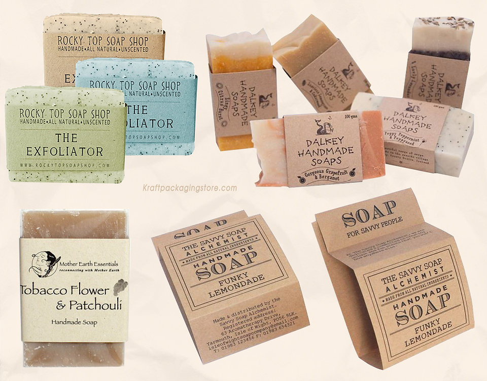 Custom kraft soap sleeve soap wraps paper packaging