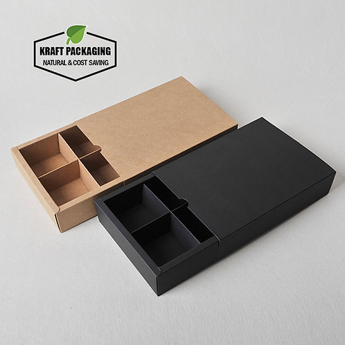 Kraft paper slide drawer boxes with paperboard divider insert