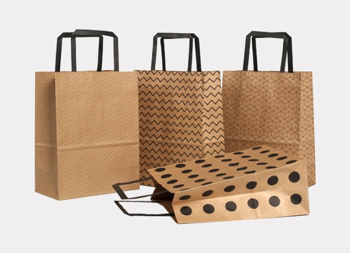 Bulk sale Kraft printed paper gift bags with flat paper handles