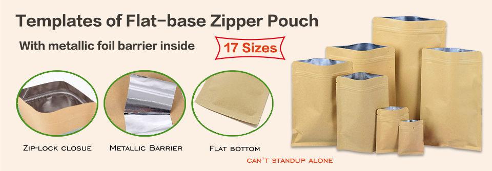 Templates of flat bottom kraft zipper pouches bag with metallic foil barrier