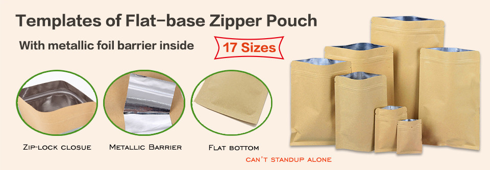 Templates of flat bottom kraft zipper pouches bag with metallic foil barrier