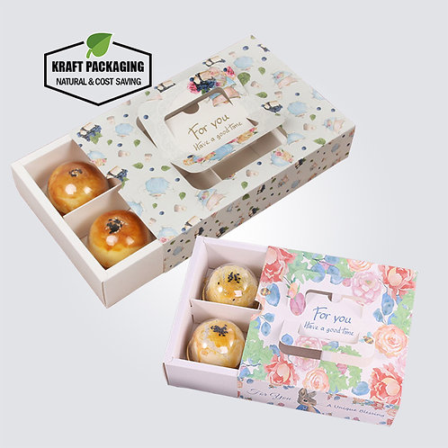Beautiful Printed White Drawer Box with Divider Insert and Carry Handle
