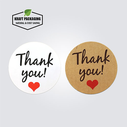 White and brown Thank You sticker label in black text and red heart printing