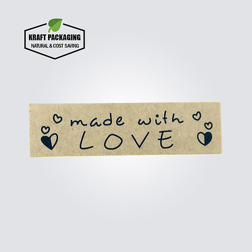 Kraft paper rectangle Made with LOVE sticker label for box bag closure