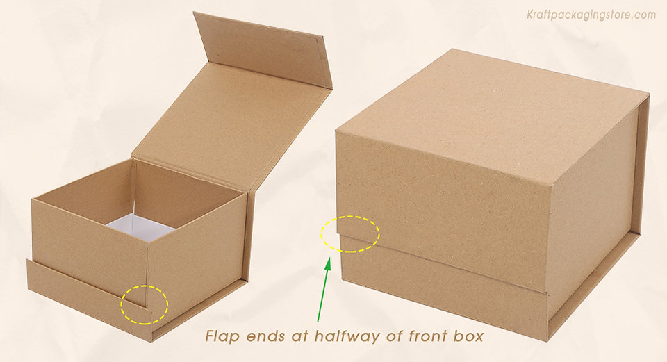 Custom magnetic boxes with halfway ends flap closure