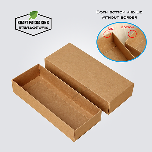 Brown Kraft gift box with lid has a base without wide border