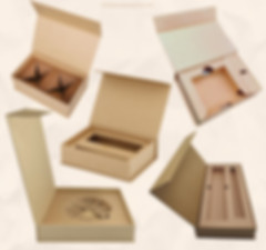 Rigid Kraft cardboard magnetic closure boxes with paper insert