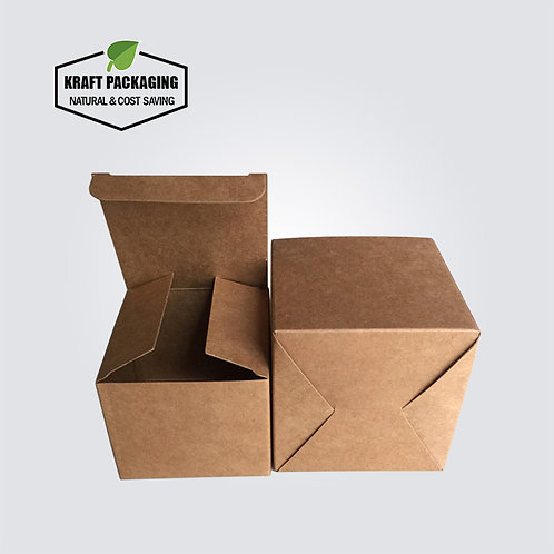 Small kraft paper folding gift box with tuck top  and snap-lock bottom
