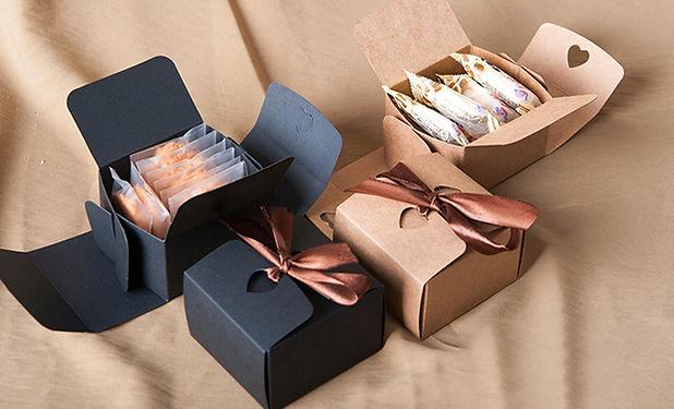 Silk ribbon attached kraft candies cookies flat pack box