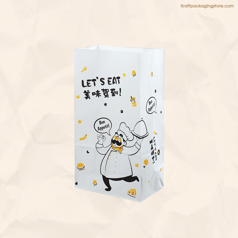 Custom printed white kraft bakery bread bags
