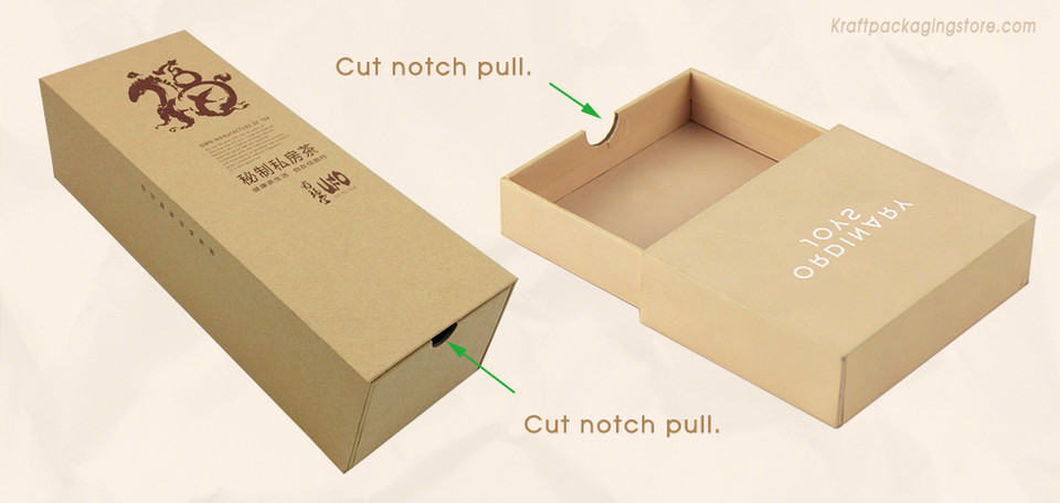 Custom rigid drawer gift box with cut notch pull