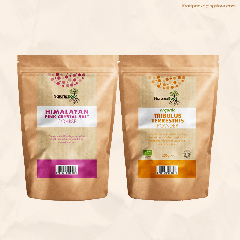 Full color printed custom kraft stand up pouch bags