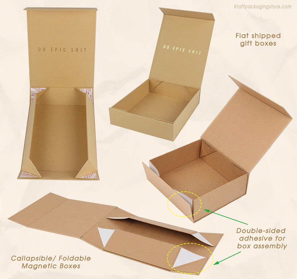 Foldable rigid cardboard kraft magnetic boxes