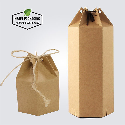 Hexagon Brown Kraft Favor Box Honey Tea Packaging Gift Boxes Rope Closure