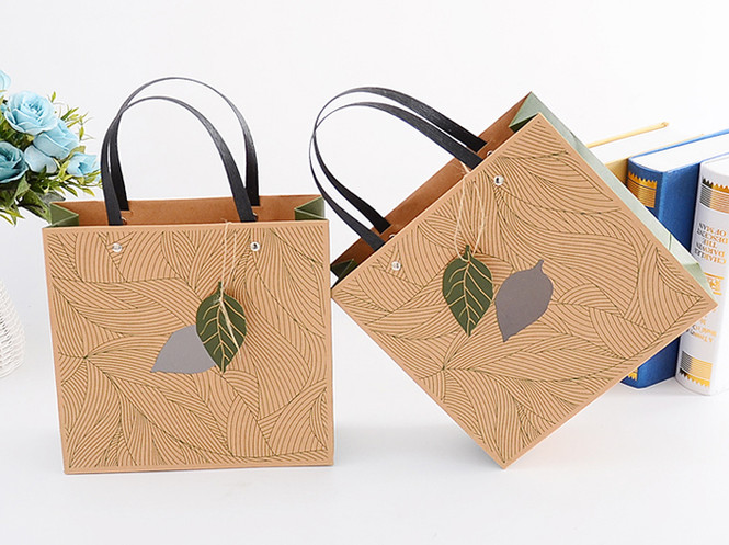 Brown Kraft printed paper gift bags with handle and PVC window