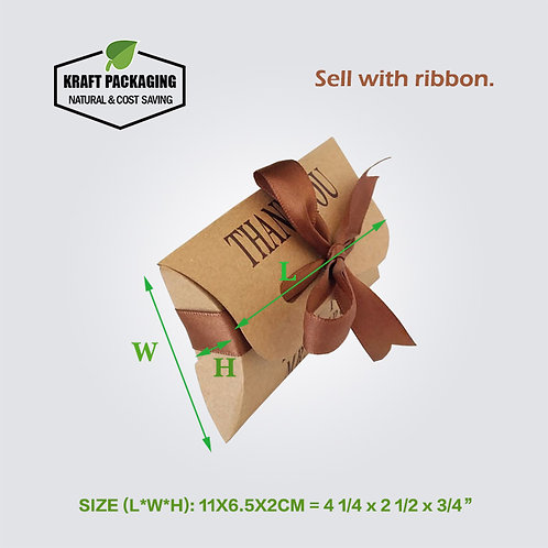 Small Printed Kraft Pillow Boxes With Ribbon Closure Wholesale
