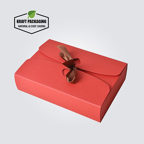 Silk ribbon closure RED Kraft paper flat pack gift boxes wholesale