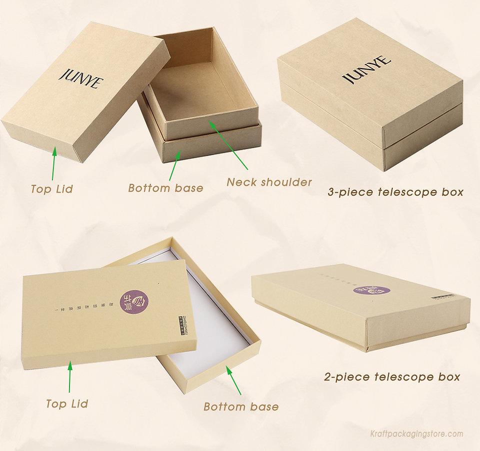 2 types of custom Kraft rigid telescoping gift boxes