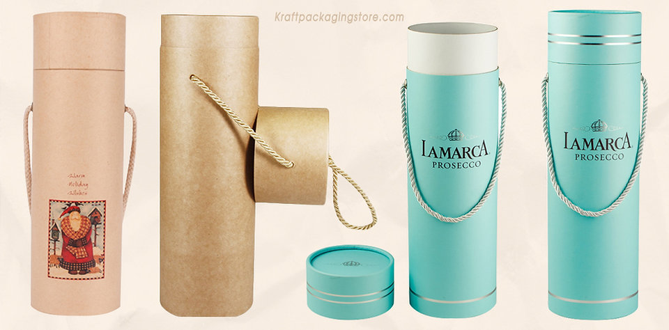 Wine packaging tubes with rope carry handle