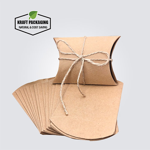 Small Brown Kraft Pillow Boxes Wholesale With Rope