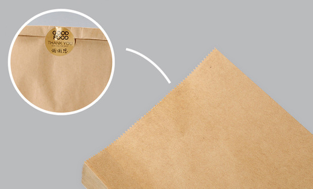 Kraft food packing bags sealed with sticker label
