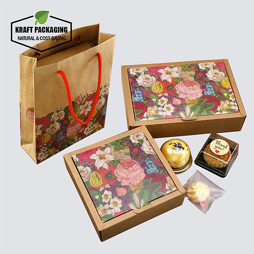 2-piece style color flower printed Brown Kraft boxes for cake dessert goodie