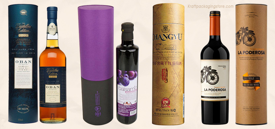 Custom wine bottle packaging cardboard tubes