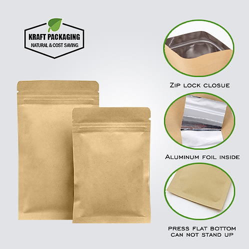 CAN'T Stand - Flat bottom aluminum laminated inside Brown Kraft zipper pouch
