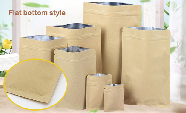 flat bottom style kraft paper pouch bags