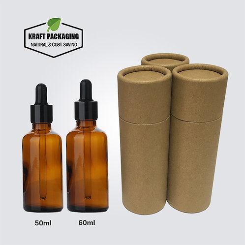 Brown Kraft Paper Cardboard Tube Packaging Suit for 50ml 60ml Dropper Bottles