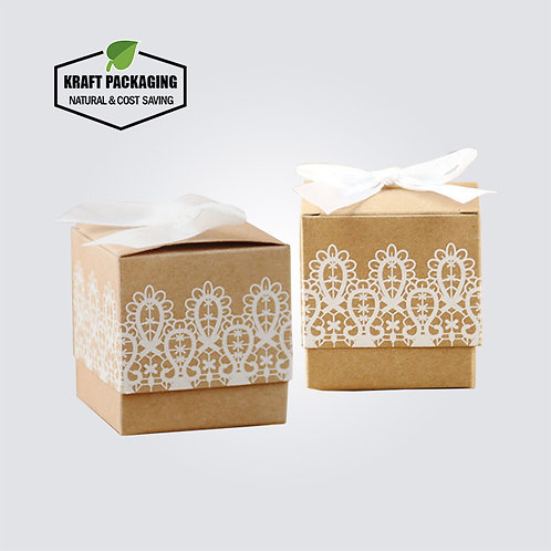 White ink printed Brown Kraft Favor Boxes Wholesale with Silk Decoration