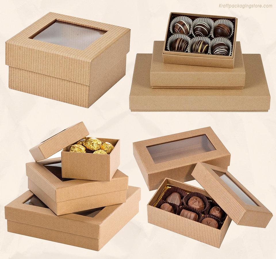 Custom rigid kraft gourmet gift box with window