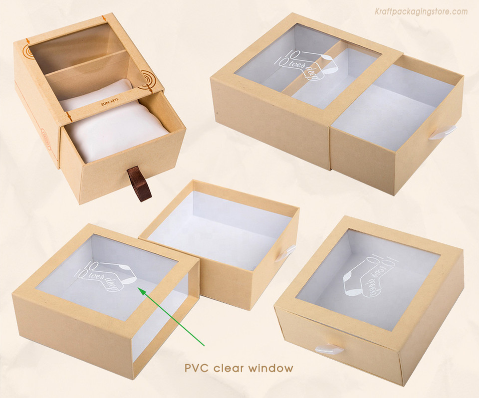 Custom rigid Kraft sliding drawer box with clear PVC window