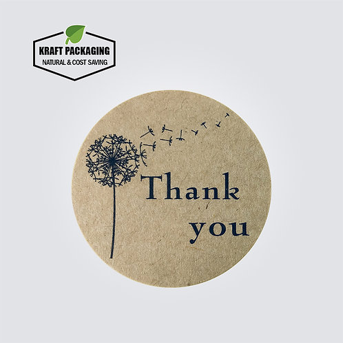 Kraft paper round Thank You text sticker with dandelion printed labels