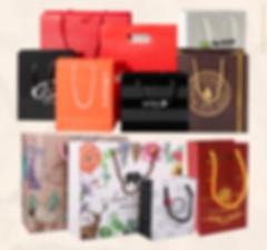 Custom printed white shopping bags gift bags