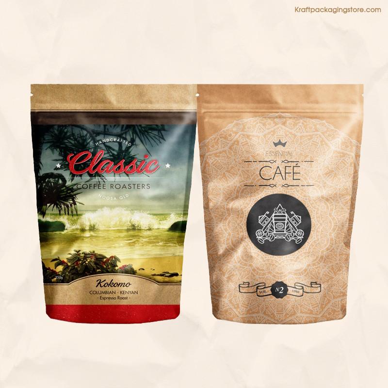 Custom full color printed brown kraft pouch bags