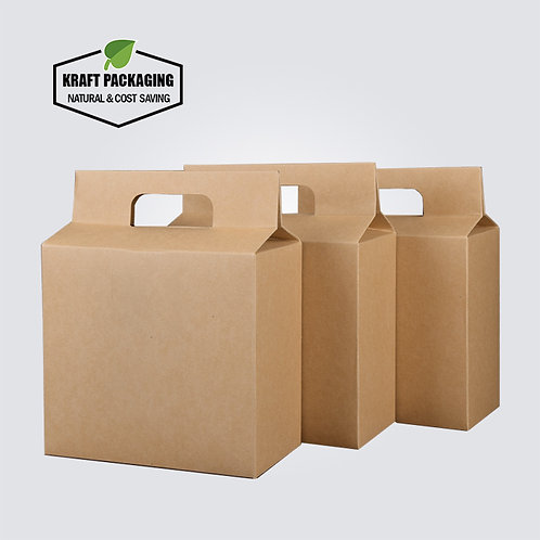 Heavyduty big size Kraft gift boxes packaging tea box with carry handle