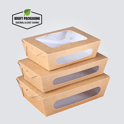 Disposable brown Kraft take out salad containers with two clear window
