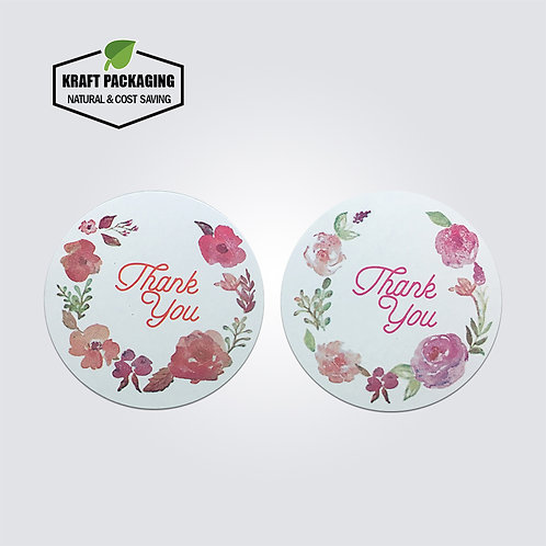 White round thank you sticker label with colorful flower printing