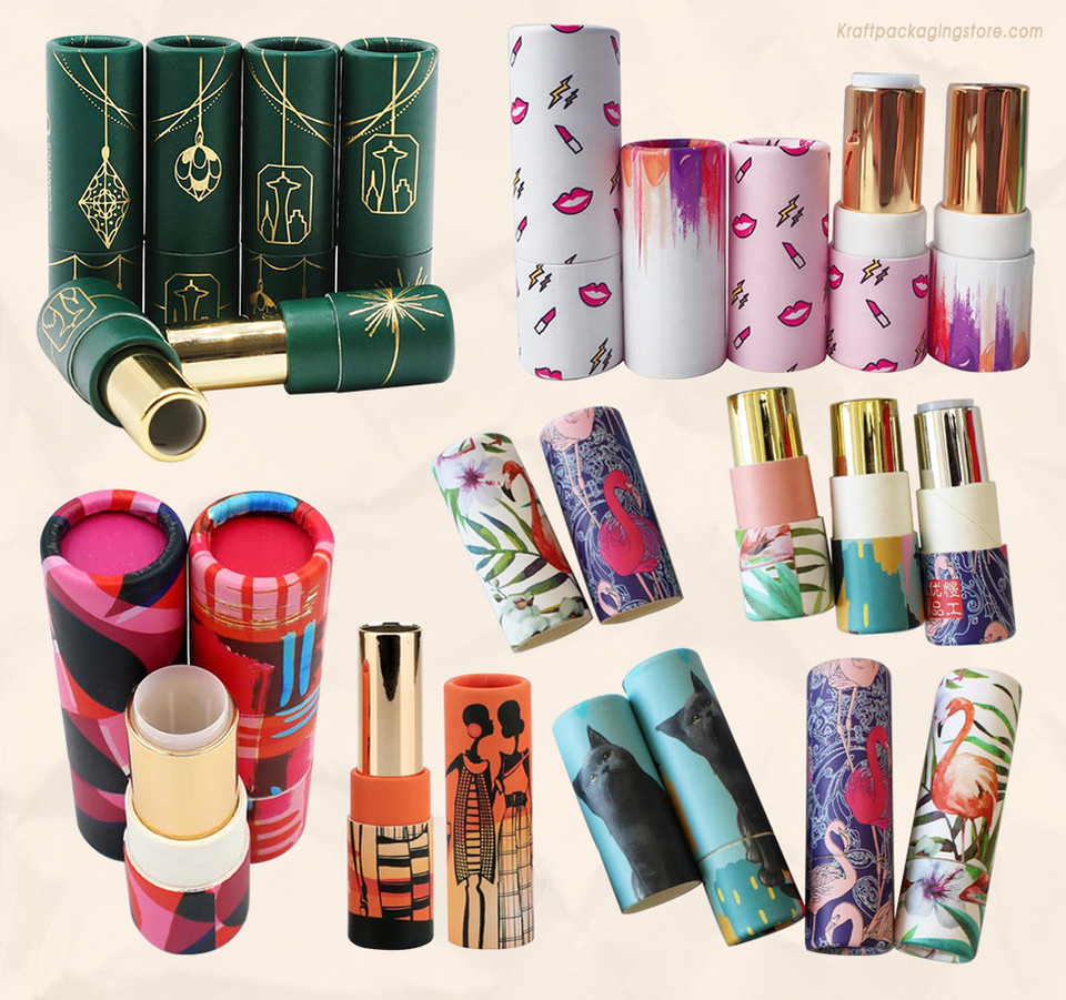 Custom printed cardboard lipstick balm tube packaging