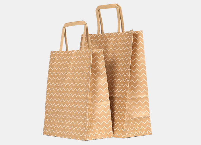 Cheap Brown Kraft paper gift bags printed in white wavy line patterns wholesale