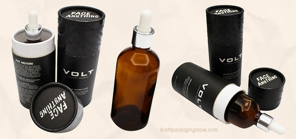 Black tubes boxes for essential oil bottle packing