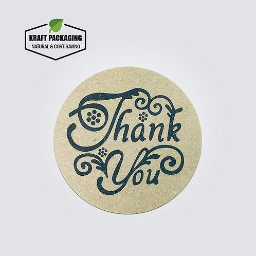 Brown Kraft paper round word art Thank You text sticker labels